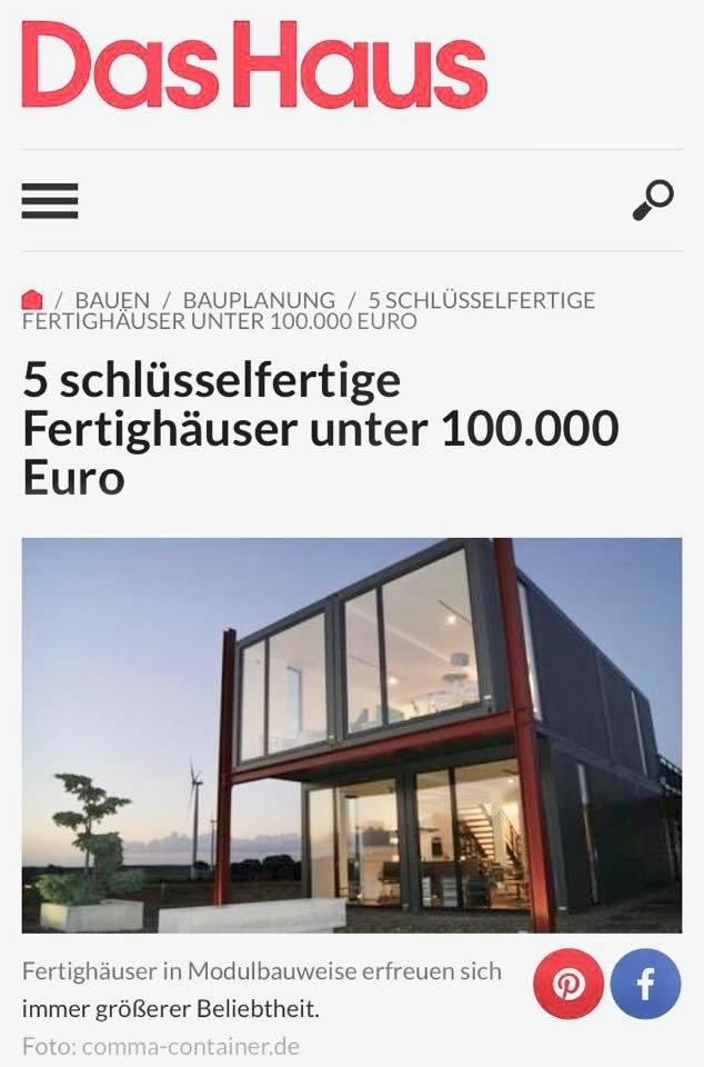 5 Schlusselfertige Fertighauser Unter 100 000 Euro Comma