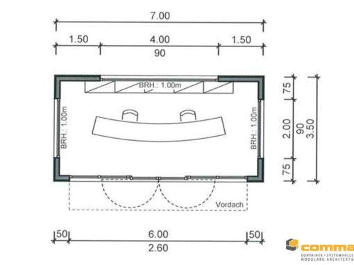 Individueller Empfangsbereich mit Verglasung und hochwertiger Laerchenfassade