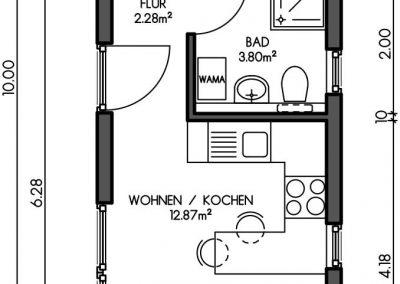Containerhaus Wohn, Gästehaus, Wochenendhaus Variante 1
